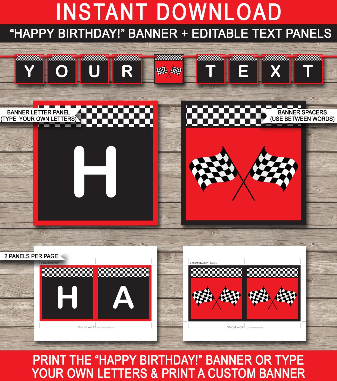 happy birthday racing banner ; Race-Car-Banner-Happy-Birthday-editable-and-printable-templates-red