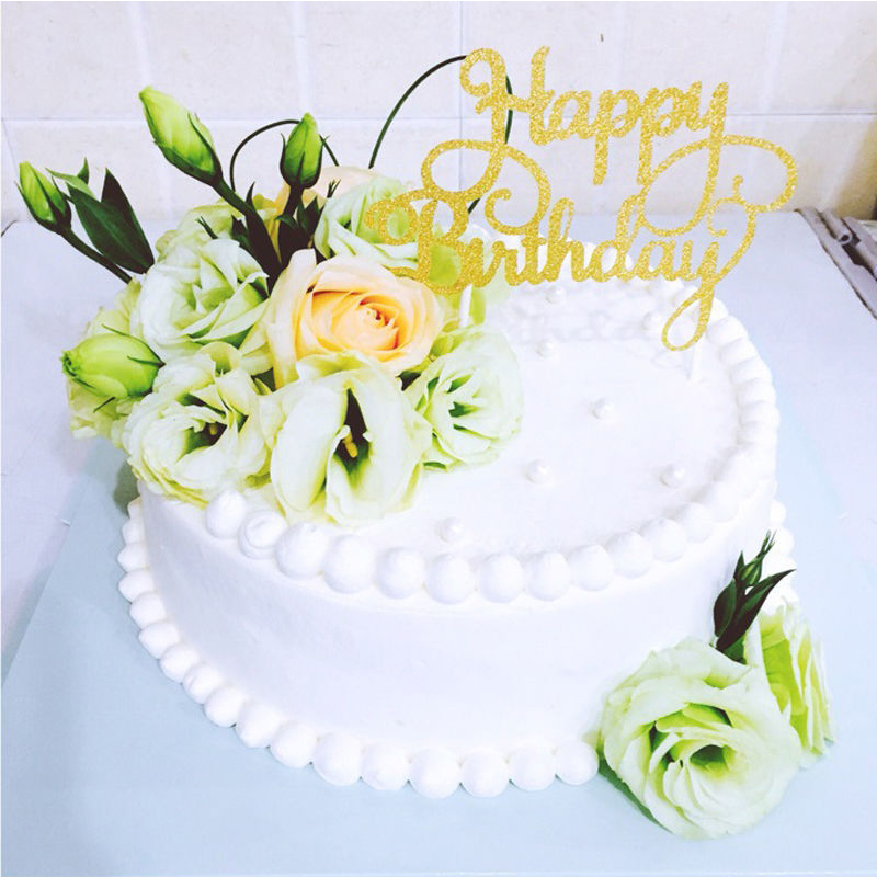 happy birthday rose cake ; Fashion-2016-Cute-Cake-Topper-Happy-Birthday-Party-Supplies-Decorations-Kids-Rose-New