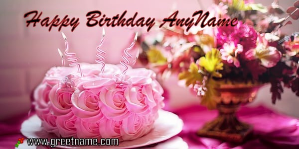 happy birthday rose cake ; happy-birthday-rose-cake-candle-Any-Name