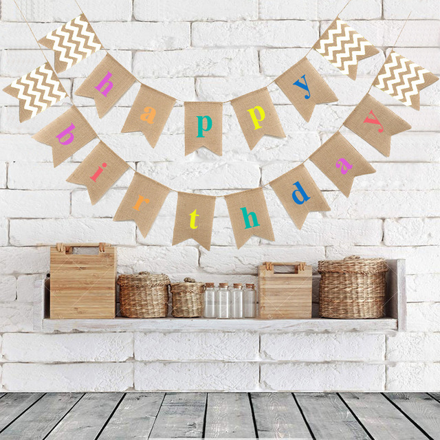 happy birthday rustic ; Rustic-Burlap-Happy-Birthday-Banner-Baby-Shower-Decorations-Photobooth-Birthday-Party-Bunting-Banner-Garland-Baby-Shower