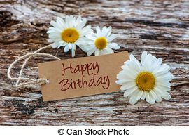 happy birthday rustic ; daisy-flowers-with-a-tag-happy-birthday-on-wooden-background-pictures_csp38719788