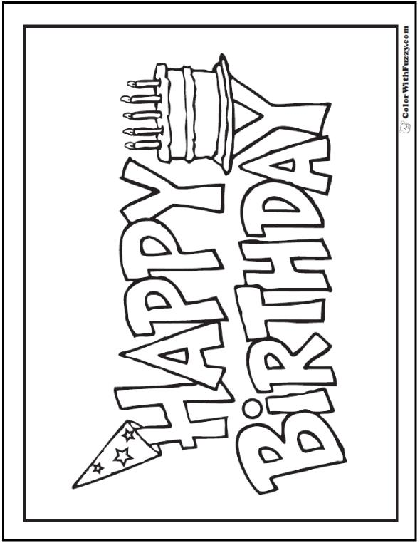 happy birthday sign black and white ; happy-birthday-sign-coloring-pages-a7446b60d6d319735f82639900a88a54