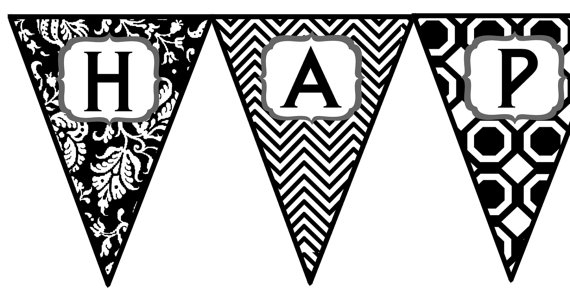 happy birthday sign black and white ; items-similar-to-instant-download-black-and-white-happy-birthday-in-happy-birthday-banner-black-and-white-printable
