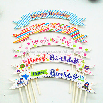 happy birthday sign cake toppers ; Multicolor-Cupcake-Cake-Topper
