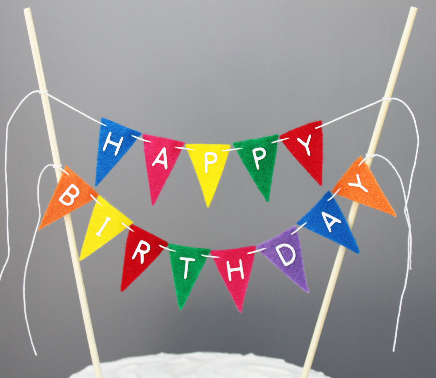 happy birthday sign cake toppers ; birthday-cake-banner-round-white-creamy-cake-with-colorfull-flannel-banner-decoration-unique-banner-cake-topper-related-items-etsy
