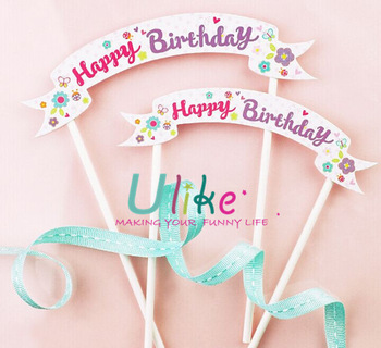 happy birthday sign cake toppers ; kids-party-supply-paper-cake-topper-banner