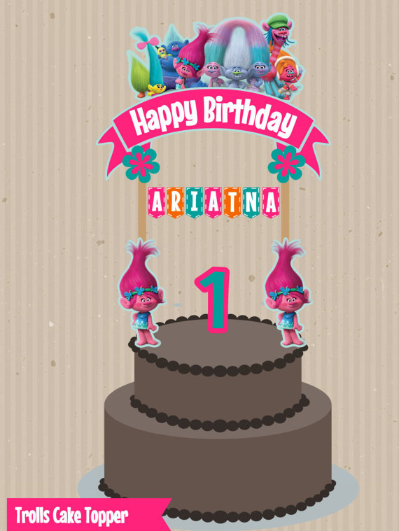 happy birthday sign cake toppers ; trolls-cake-topper-trolls-birthday-trolls-party-custom-cake-happy-birthday-cake-topper-banner