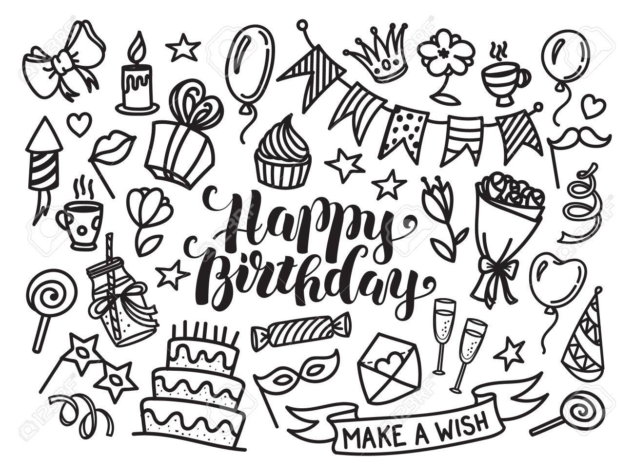 happy birthday sketch drawing ; 60371982-happy-birthday-lettering-and-doodle-set-vector-illustration-isolated-on-white-background-funny-set-o