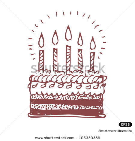 happy birthday sketch drawing ; stock-vector-happy-birthday-cake-hand-drawn-sketch-illustration-isolated-on-white-background-105339386