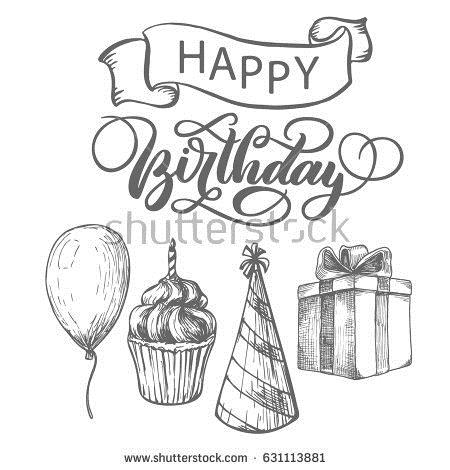 happy birthday sketch drawing ; stock-vector-happy-birthday-fancy-vintage-hand-lettering-ink-calligraphy-vector-type-design-with-ribbon-and-631113881