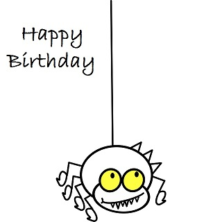 happy birthday spider ; happy-birthday-card-spider