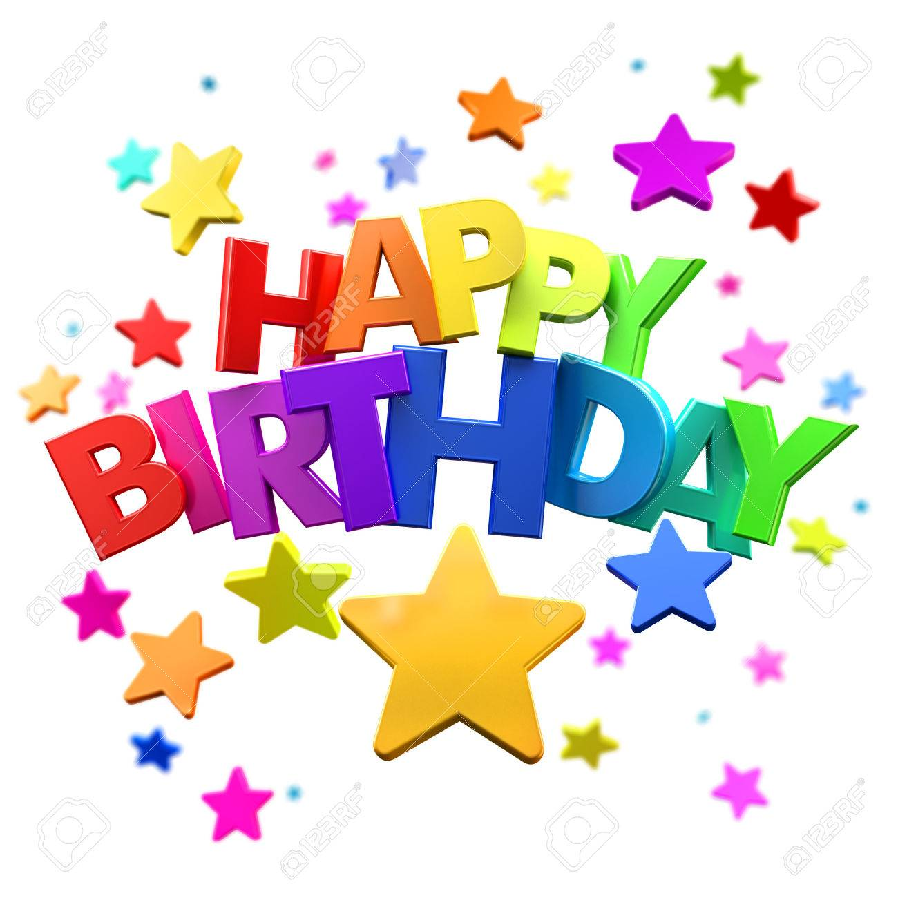 happy birthday star ; 38897937-3d-rendering-of-a-happy-birthday-greeting-message-with-stars