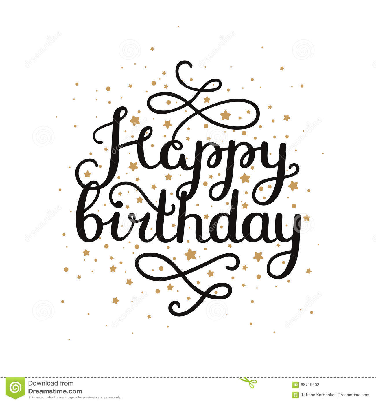 happy birthday star ; happy-birthday-card-hand-drawn-lettering-gold-star-isolated-white-background-vector-calligraphic-68719602