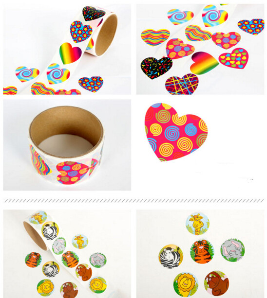 happy birthday sticker roll ; 10-rolls-1000-stickers-lot-Cute-Cartoon-Paper-Stickers-Rolls-for-Kids-Animals-Smiley-face-Love