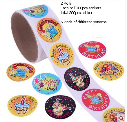 happy birthday sticker roll ; 200pcs-2-rolls-happy-birthday-stickers-lables-adhesive-paper-stickers-English-letters-decorative-cute-DIY-scrapbooking