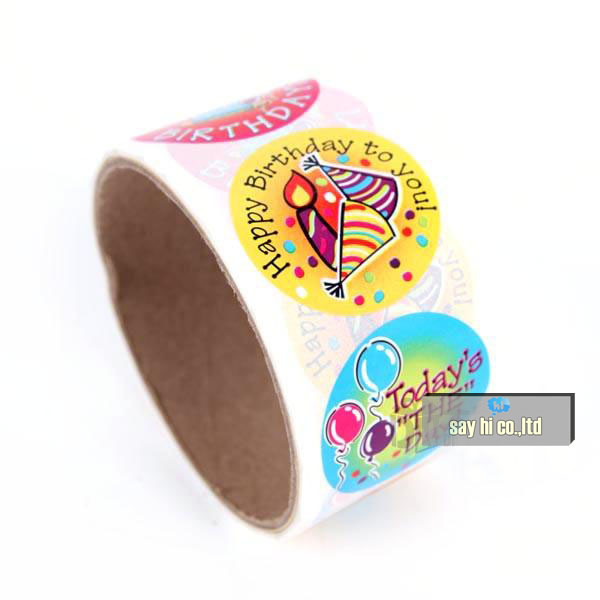 happy birthday sticker roll ; WHOLESALE-cartoon-sticker-self-adhesive-happy-birthday-party-regards-children-gift-say-hi-1000pcs-100pc-roll