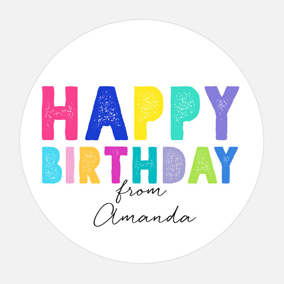 happy birthday stickers personalized ; il_570xN
