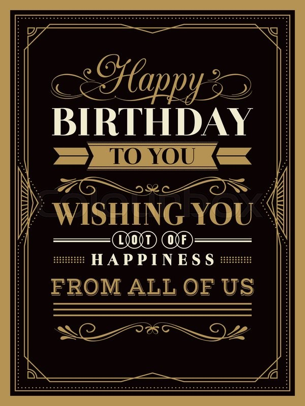 happy birthday typography ; 18999104-vintage-happy-birthday-card-template