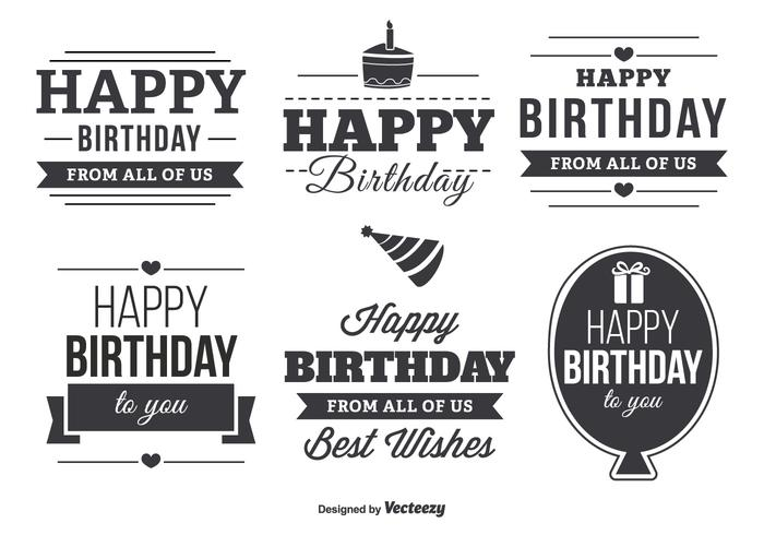 happy birthday typography ; happy-birthday-typographic-label-set-vector