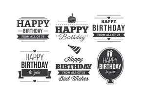 happy birthday typography ; happy-birthday-typographic-label-set