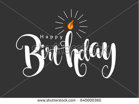 happy birthday typography ; stock-vector-simple-happy-birthday-typography-with-candle-on-black-background-640000360