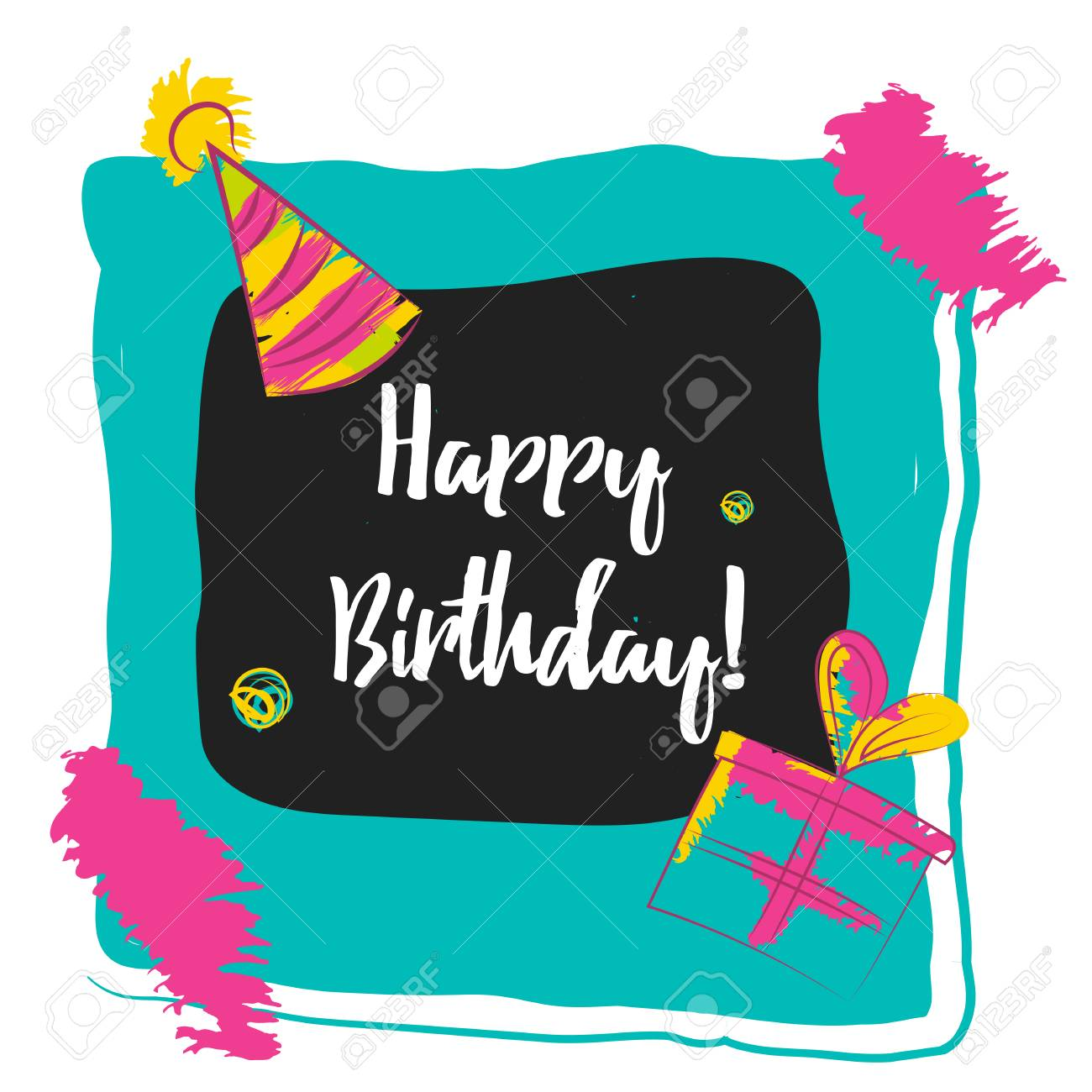 happy birthday wall posters ; 60205506-happy-birthday-typography-in-photo-frame-concept-image-poster-for-wall-art-prints-mock-up-home-inter