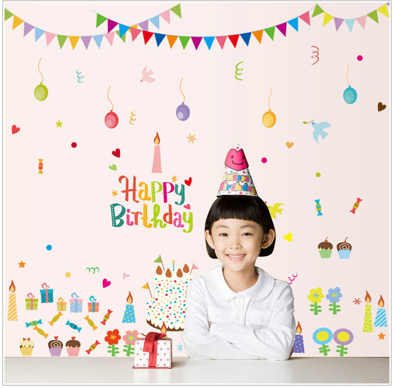 happy birthday wall posters ; Happy-Birthday-Background-Wall-Decal-Sticker-Art-Mural-Removable-Double-Visible-Wallpaper-Poster-Sticker-for-Birthday