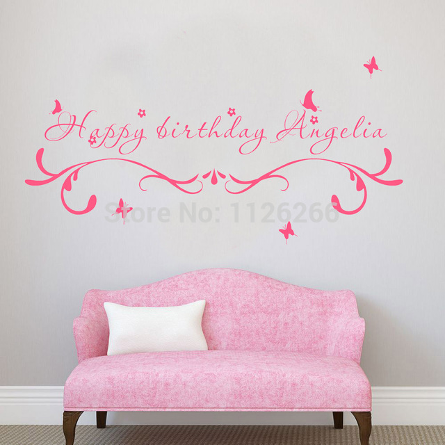 happy birthday wall stickers ; Custom-Made-Happy-Birthday-Creative-Wall-Stickers-Quotes-Personalized-unparalleled-Vinyl-Art-Decals-for-Kids-Room