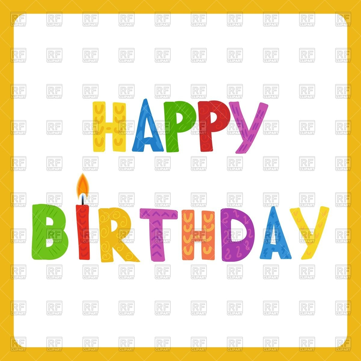 happy birthday word clipart ; happy-birthday-greeting-card-in-yellow-frame-Download-Royalty-free-Vector-File-EPS-116254