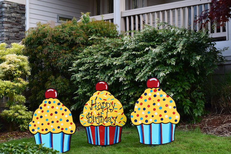 happy birthday yard signs ; Shopping-Cart-31-Three-Happy-Birthday-Cupcake-Yard-Signs-Red-Yellow-Blue-Fun-Party-Decorations