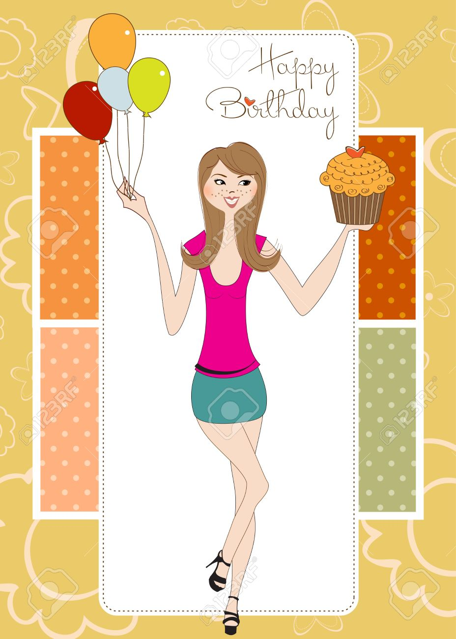 happy birthday young girl ; 11022222-sweet-sixteen-birthday-card-with-young-girl