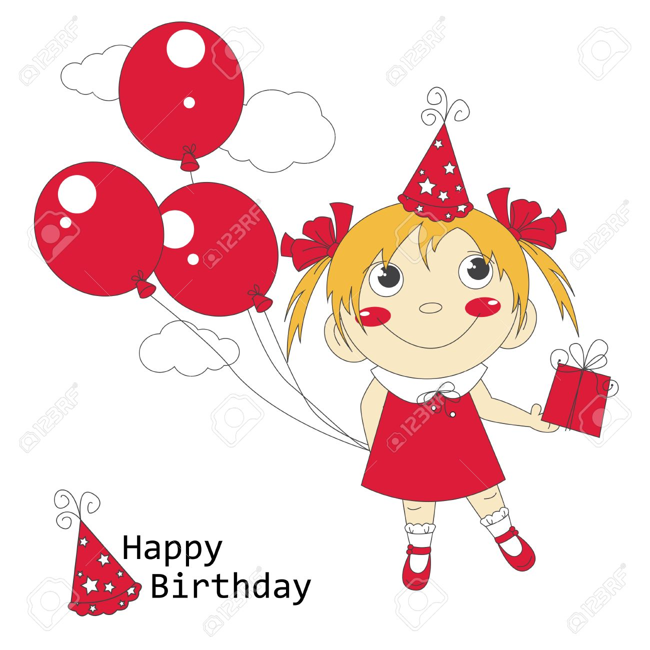happy birthday young girl ; 21074483-happy-birthday-illustration-of-cute-little-girl-with-air-balloons-and-gift