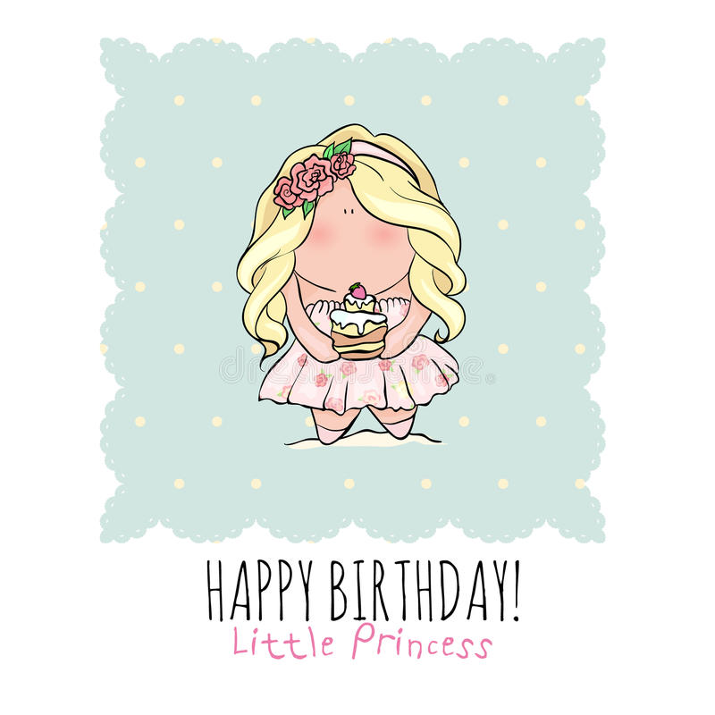 happy birthday young girl ; happy-birthday-card-girl-cute-little-girl-doodle-poster-style-holding-cake-blue-pink-color-princess-cupcake-73619482
