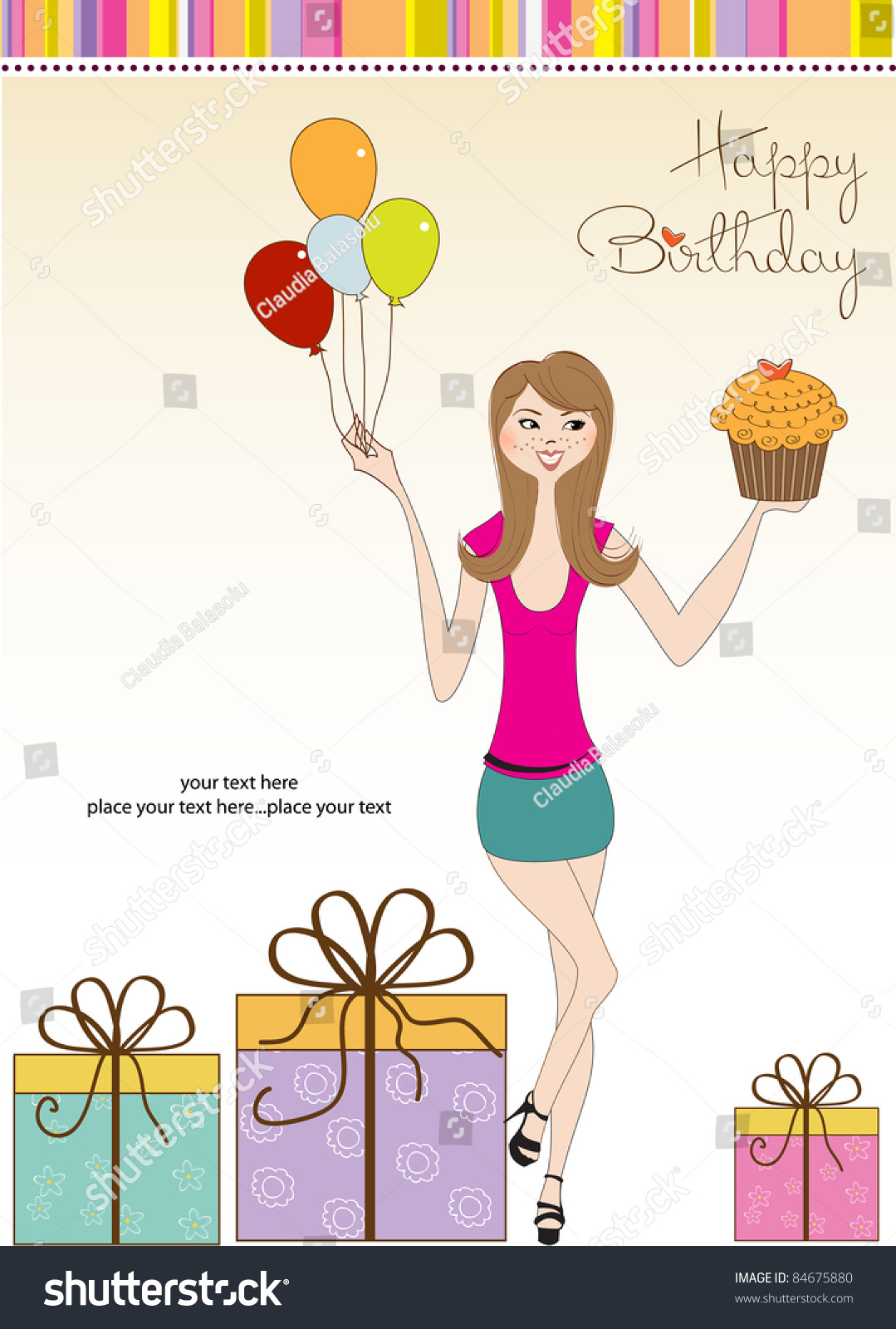 happy birthday young girl ; stock-vector-happy-birthday-card-with-young-girl-84675880