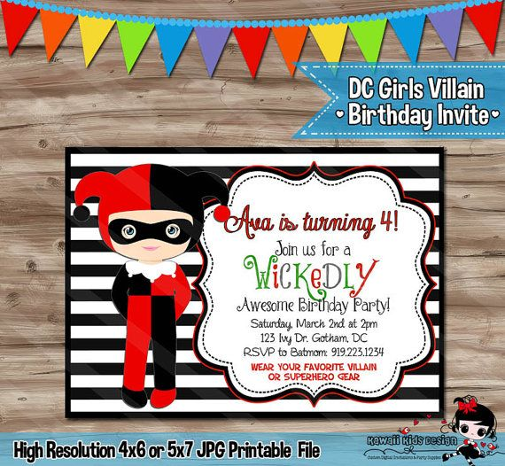 harley quinn birthday invitations printable ; 6af019cd1a10481693d84be8740c8291