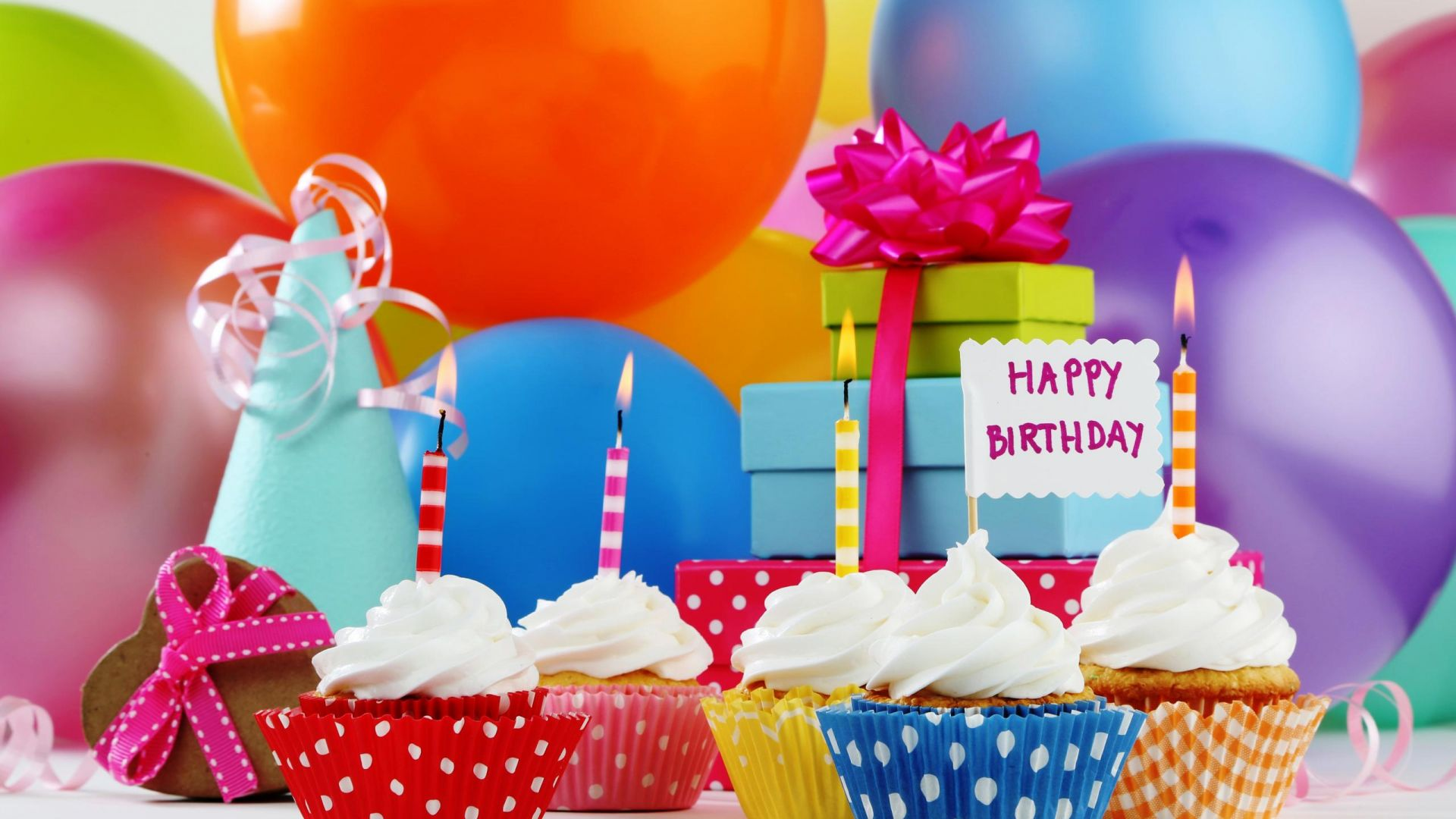 hd wallpaper happy birthday gifts ; happy_birthday_balloon_cupcake_gift_wallpaper