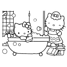 hello kitty happy birthday coloring ; Hello-Kitty-bathing-in-bathroom