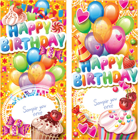 hike birthday stickers ; happy_birthday_elements_cover_balloons_and_cake_vector_522073