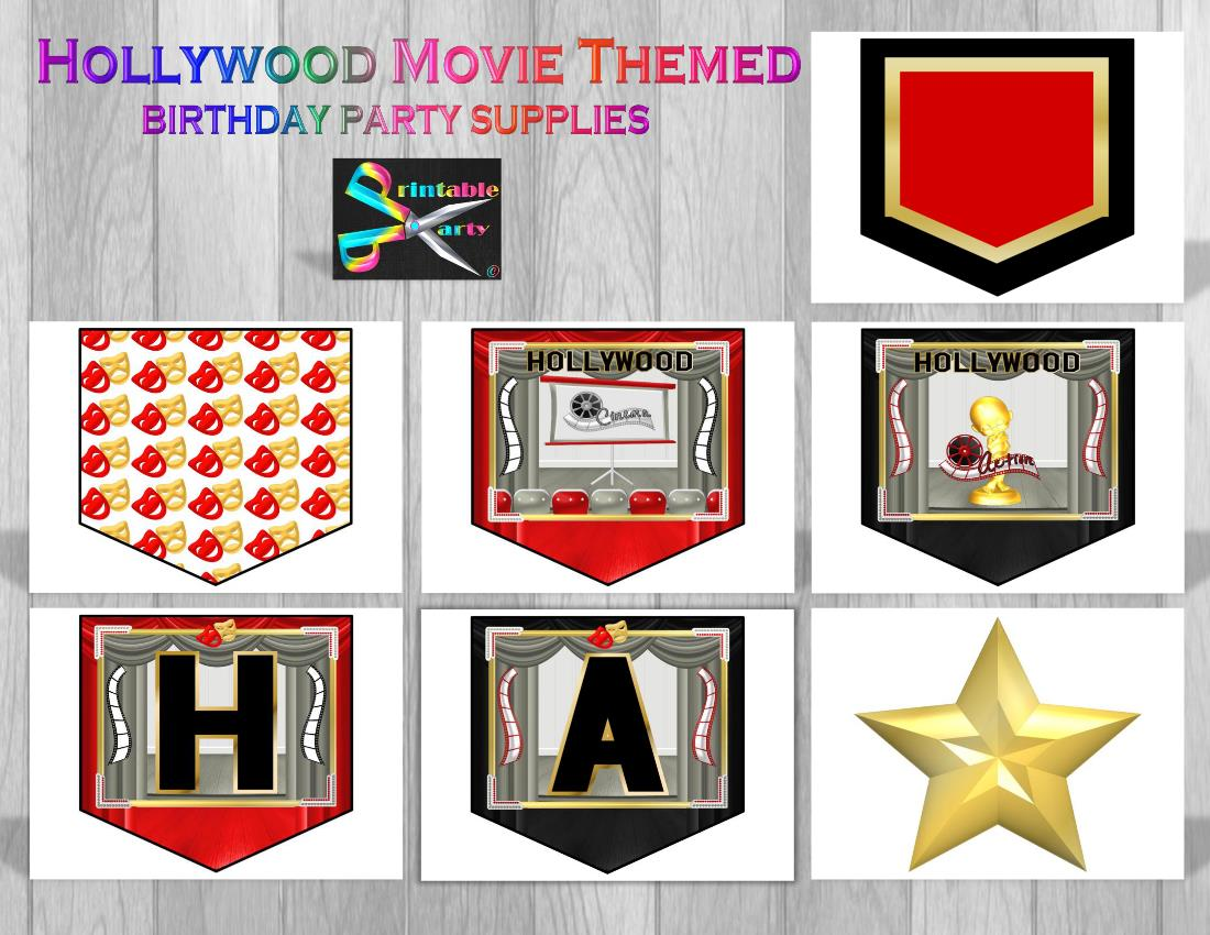 hollywood birthday banner ; hollywood-MOVIE-THEME-PARTY-SUPPLIES