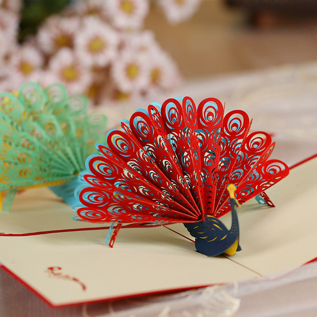 homemade birthday greeting cards for teacher ; DIY-Custom-Peacock-Greeting-2016-Christmas-card-stereoscopic-3D-birthday-greeting-card-business-teacher