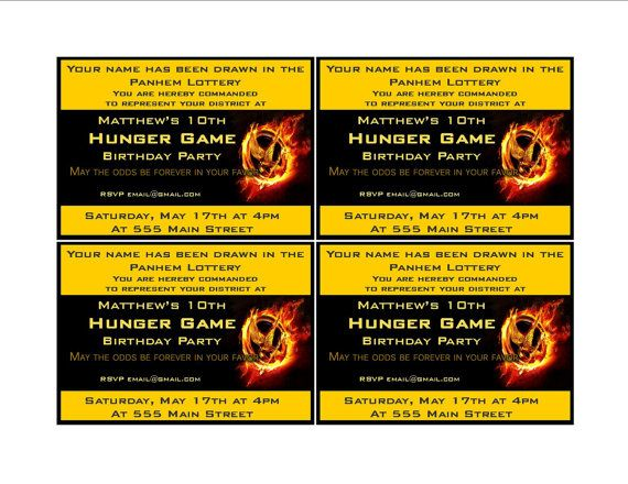 hunger games themed birthday card ; 4a4015b649507c999e56b4c452585638--hunger-games-party-birthday-party-invitations