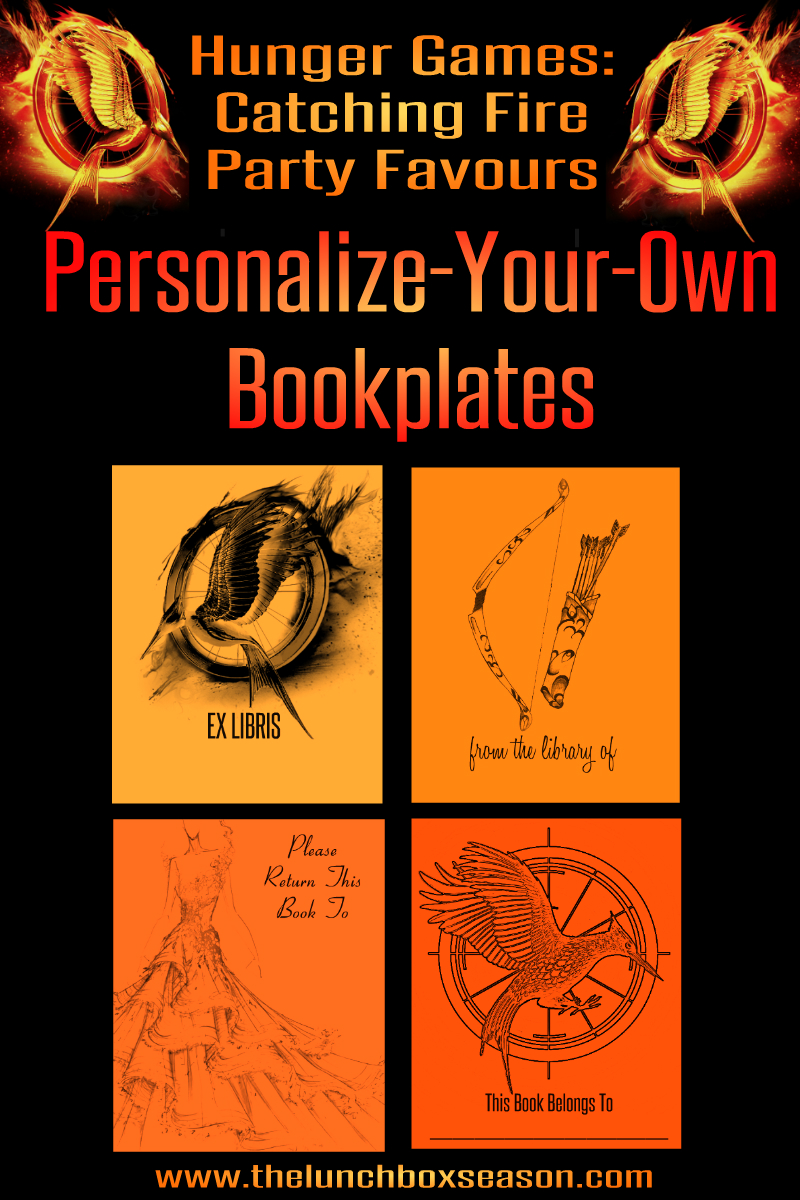 hunger games themed birthday card ; Hunger-Games-Catching-Fire-Party-Favours-Personalize-Your-Own-Bookplates