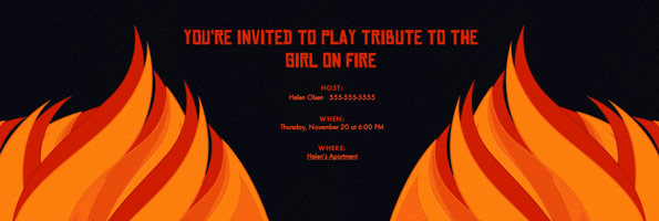 hunger games themed birthday card ; Hunger-Games-Fire-Invitation-595