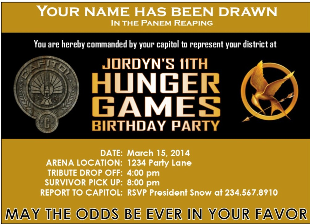 hunger games themed birthday card ; hunger-games-party-supplies-invitation