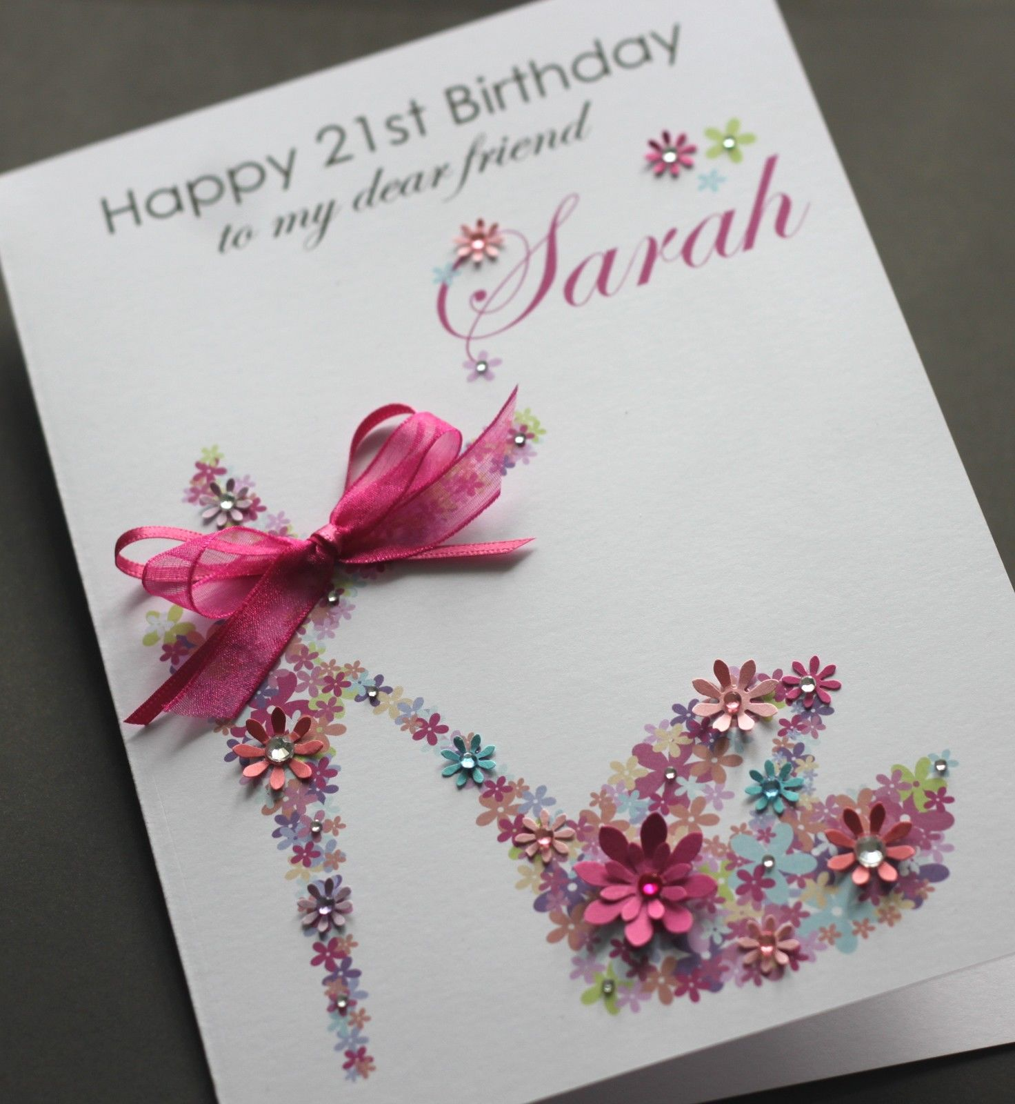 ideas for making birthday greeting cards at home ; LARGE-A5-Handmade-Personalised-FLORAL-SHOE-Birthday-Card-sister-friend-mum_4