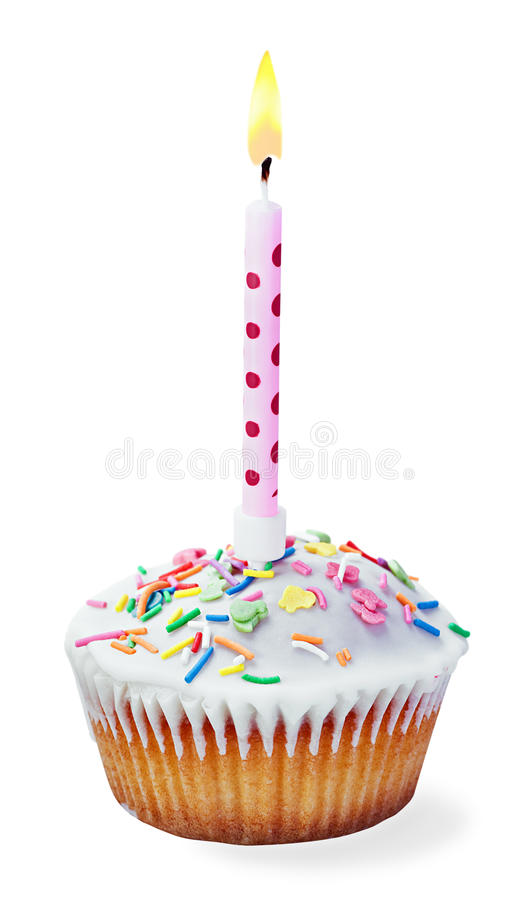 image of a birthday candle ; cupcake-birthday-candle-isolated-white-background-34203926