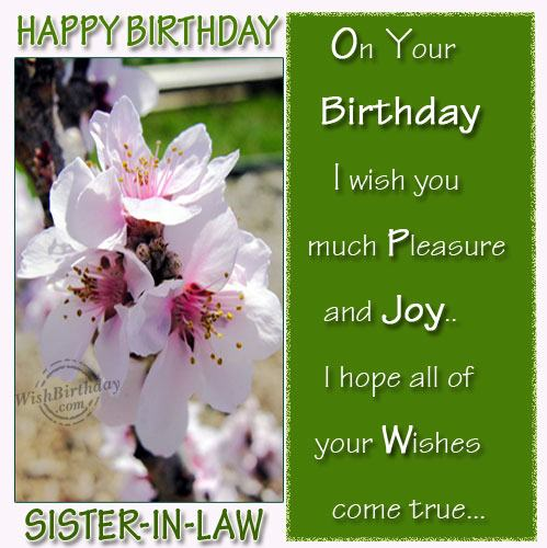 in your birthday i wish you ; On-Your-Birthday-I-Wish-You-Much-Pleasure-And-Joy-I-Hope-All-Of-Your-Wishes-Come-True-Happy-Birthday-Sister-In-Law