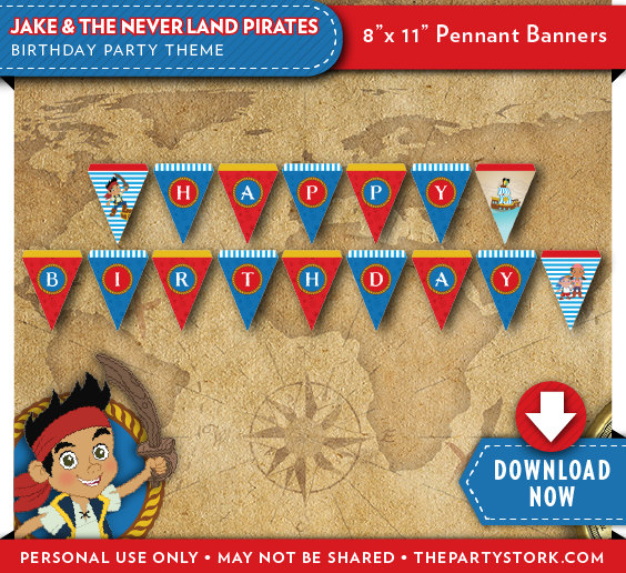 jake and the neverland pirates birthday banner ; il_570xN