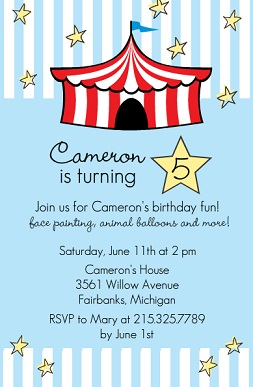 kids birthday party invitations with photo ; Light-Blue-Circus-Tent-Birthday-Party-Invitation