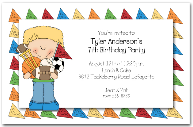 kids birthday party invitations with photo ; kids-birthday-invitation-boys-team-sports-party-invitations-team-childrens-birthday-party-invitations